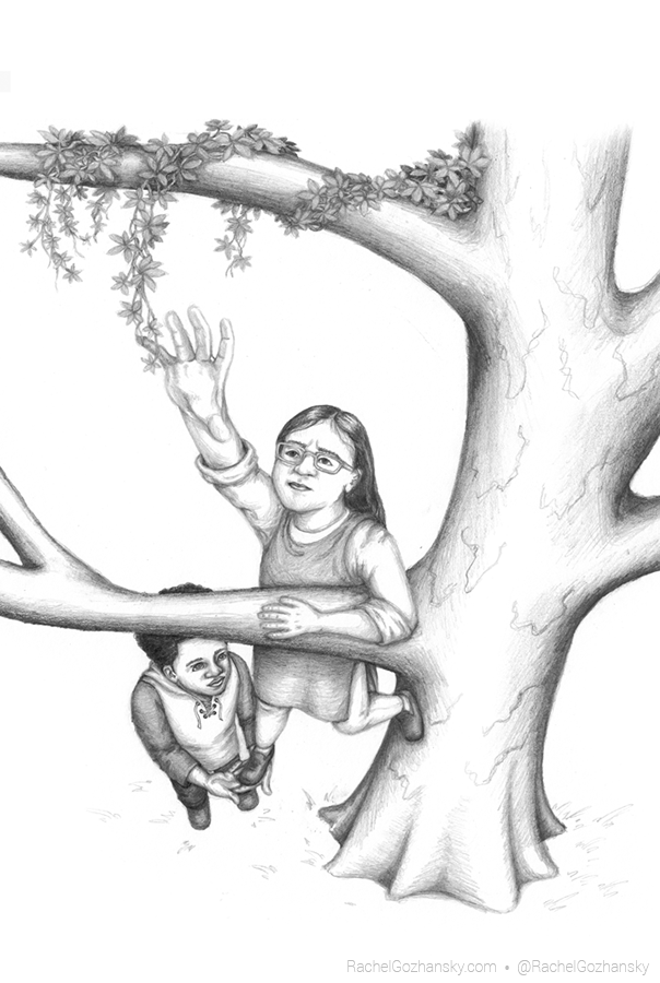 a boy leveraging a girl up in to a tree to grab a vine