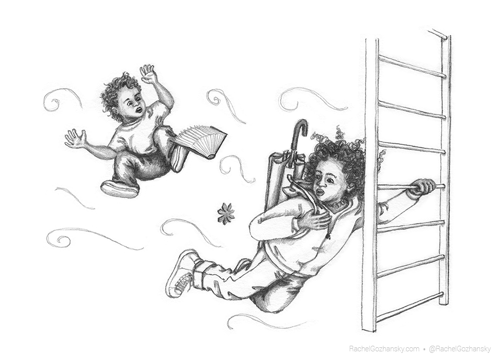 Samantha Spinner clinging to a ladder while wind pulled her back and her brother floated away