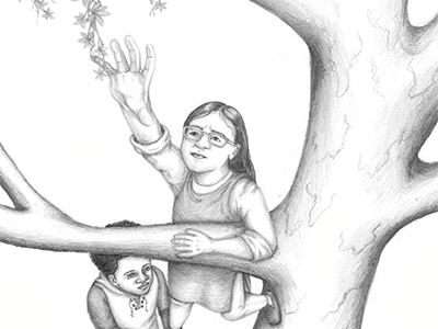 a thumbnail of a boy leveraging a girl up in to a tree to grab a vine