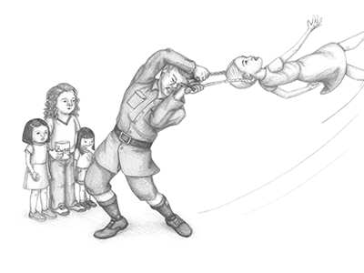 a thumbnail of Madame Trunchbull swinging a girl by her pigtails