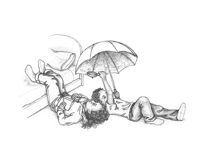 a thumbnail of Samantha Spinner and her brother examining the underside of an umbrella