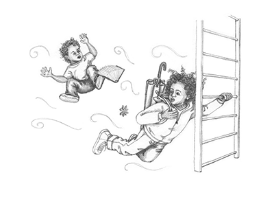 a thumbnail of Samantha Spinner clinging to a ladder while wind pulled her back and her brother floated away